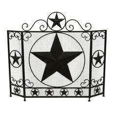 Rustic Brown Western Star 3 Panel Metal Fireplace Screen