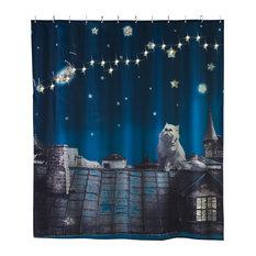 Moon Cat LED Shower Curtain