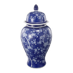 Well- Designed Flowers Ginger Jar, Blue and White