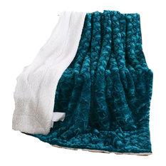 Mermaid Embossed Sherpa Throw Blanket, Teal