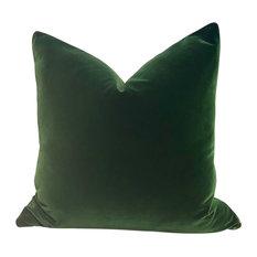 """Velvet Pillow, Moss Green, 20""""x20"""", With Pillow Insert"""