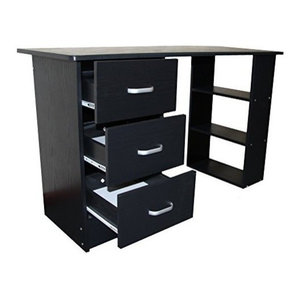 Modern Stylish Desk, MDF With 3 Open Shelves and 3 Storage-Drawer, Black