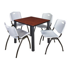 Kee 30 Square Breakroom Table- Cherry/ Black & 4 'M' Stack Chairs- Grey