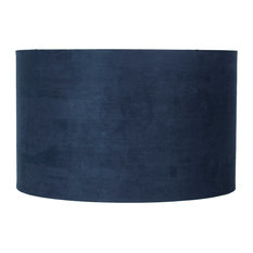 """Classic Drum Suede Lamp Shade, 16""""x16""""x10"""", Navy Blue"""