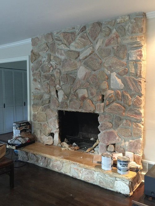 giant fieldstone fireplace | Our 1980's stone fireplace