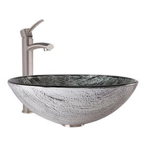 3ca8f207cff VIGO Titanium Glass Vessel Bathroom Sink and Niko Faucet Set ...