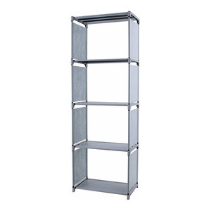 Modern Bookcase Organizer, Steel Metal With Multiple Open Compartment, Grey