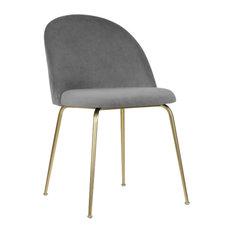 - Millennial Brass Velvet Upholstered Dining Chair, Soft Grey - Dining Chairs