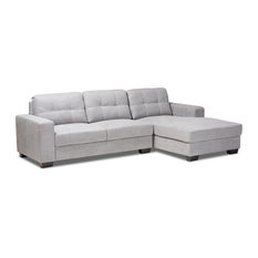 Langley Light Gray Fabric Upholstered Sectional Sofa With Right Facing Chaise