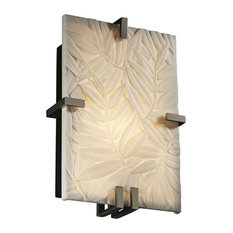 Justice Designs Porcelina Clips Rectangle Wall Sconce, Brushed Nickel