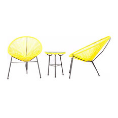 Acapulco Chairs and Table 3-Piece Outdoor Set, Yellow