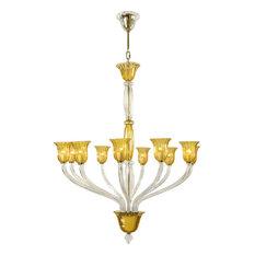 Ten Lamp Chandelier, Gold