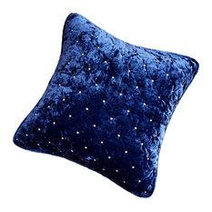 Velvet Dreams Dark Blue Plush Diamond Tufted Bedspread, 26x26