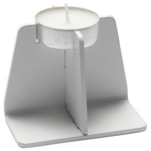 Cross Plinth Tealight Holder, White, Small