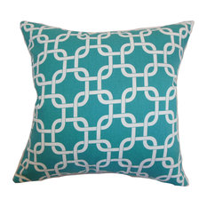 Qishn Geometric Floor Pillow, Turquoise