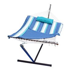 12' Cotton Rope Hammock, Stand, Pad and Pillow Combination