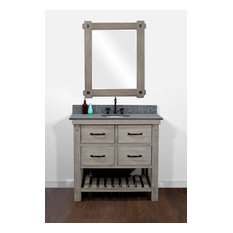 Rustic Fir Single Sink Vanity With Polished Surface Granite Top 36-inch
