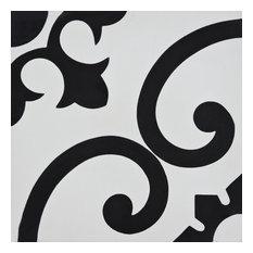 """8""""x8"""" Orika Handmade Cement Tile, White/Black, Set of 12"""