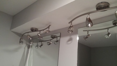 Ideas for bathroom light fixtures. Must be ceiling mounted.