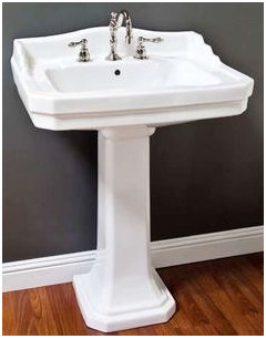 You can avoid issue by buying a pedestal sink that has its own integrated backsplash design or tile just the sink wall or all the way around. & Backsplash for pedestal sink islam-shia.org