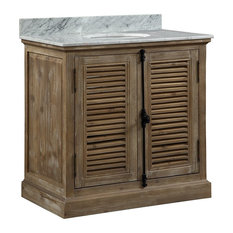 "36"" Solid Wood Sink Vanity With Carrera White Marble Top And Round Sink"