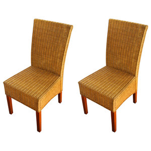 vidaXL Rattan Dining Chairs, Brown, Set of 2
