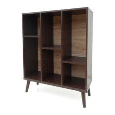 GDFStudio   Elizabeth Walnut Finished Faux Wood Bookshelf With Oak Backing,  Sanremo Oak   Bookcases