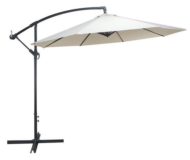 Outdoor 10 Feet Beach Umbrella, UV Resistant, Hanging Offset Patio Umbrella