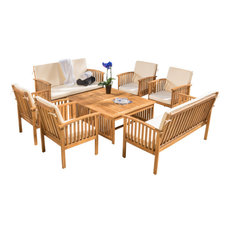 GDF Studio 8--Piece Beckley Outdoor Wood Sofa Seating Set