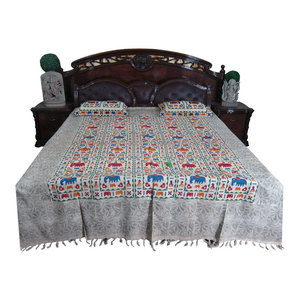 Mogul Interior - Mogul Bed Cover Indian Inspired KOHINOOR Print 100% Cotton Bedspread Queen Size - Blankets