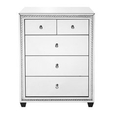 "31.5"" Crystal Five Drawers Cabinet, Clear Mirror Finish"
