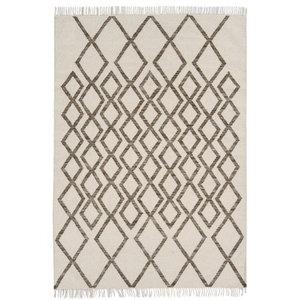 Hackney Kelims Diamond Taupe Rectangular Rug, 160x230 cm
