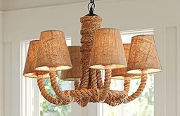 Rope Chandelier with Jute Shades