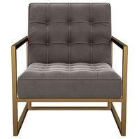 Tove Mid Century Gray Velvet Accent Chair
