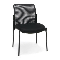 Essentials By Ofm Ess-8000 Mesh Back Upholstered Armless Side Chair Black