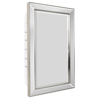 """Head West Champagne Silver Beaded Beveled Mirror, 16x26"""""""
