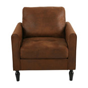 Bunny Contemporary Club Chair With Plush Microfiber Cushions, Brown