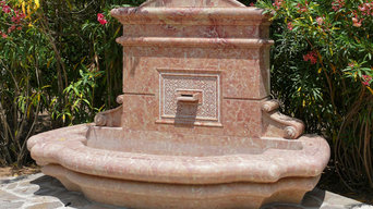 wall  fountains in sicilian rose marble