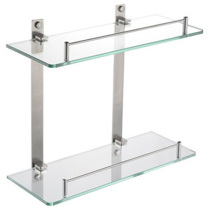 Modern Wall Mounted Storage Shelf in Stainless Steel and Tempered Glass, 2 Tier