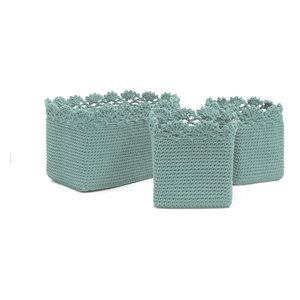 Mode Crochet Bskt Set 3 W Trim Contemporary Baskets By Heritage Lace