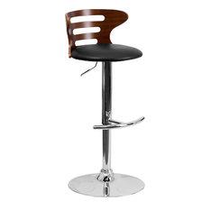 Flash Furniture Walnut Bentwood Adjustable H Bar Stool