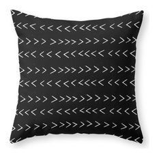 """Mudcloth 14 Black and White Pattern  Throw Pillow, 20""""x20"""" With Pillow Insert"""