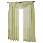 """Royal Tradition - Abri Single Rod Pocket Sheer Curtain Panel, Spring Green, 50""""x84"""" - Want your privacy but need sunlight? These crushed sheer panels can keep nosy neighbors from looking inside your rooms, while the sunlight shines through gracefully. Add an elusive touch of color to any room with these lovely panels and scarves. Sheers enhance the beauty of windows without covering them up, and dress up the windows without weighting them down. And this crushed sheer curtain in its many different colors brings full-length focus to your windows with an easy-on-the-eye color. These rod pocket crushed sheer panels are versatile enough to go from simple to elegant easily. The Abripedic Crushed Sheer Curtain panels are soft to the touch and adds a breezy relaxed look to any sort of d̩cor. This beautiful, solid-colored sheer curtain lets light gently filter through. Clean, simple one-pocket pole top design can be used with a standard or decorative curtain rod."""