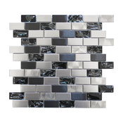 "12""x12"" Eden Mosaic Stainless Steel and Crackled Glass Mosaic Mix, Single Sheet"
