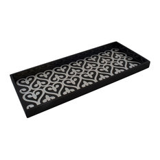 """Fleur de Lis Trays in Silver and Black, Cocktail Tray - 17"""" X 7"""" X 1"""""""