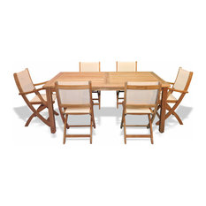 Teak Patio Dining Set Harvest Table And Teak And Sling Providence Chairs Cream