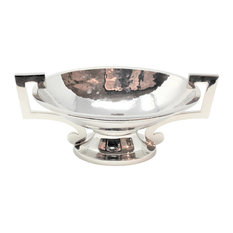 Luxe Silver Mid Century Modern Centerpiece Bowl Loving Cup Handles Oval Compote