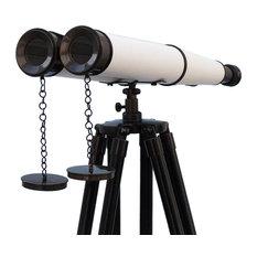 Floor Standing Admirals Oil-Rubbed Bronze-White Leather, Black Stand Binoculars