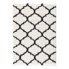 L'Baiet Ensley White Modern Plush Soft Shag 8' x 10' Fabric Area Rug
