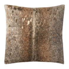 "P0521 Pillow, Pewter, Gold, 22""x22"" Cover With Down"
